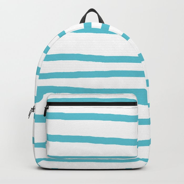 Simply Drawn Stripes in Seaside Blue Backpack