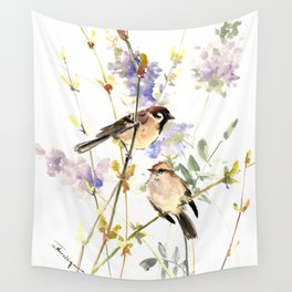 Sparrows and Spring Blossom Wall Tapestry