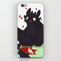 toothless iPhone & iPod Skins featuring Toothless by Flora