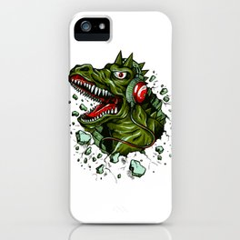 Dino with Headphones Brown Raw Umber iPhone Case