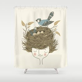 Bird Hair Day Shower Curtain