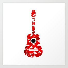 Guitar with red hearts- musical valentine gifts Art Print