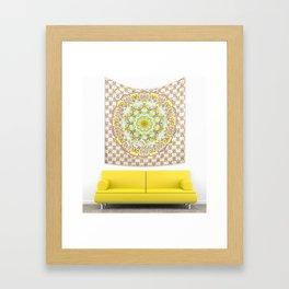 Bohemian Bedding Yellow Purple Mandala Throw Tapestry Framed Art Print