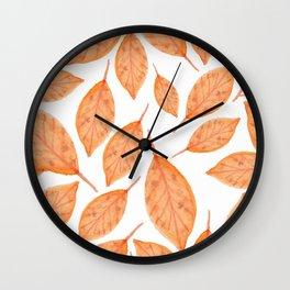 Autumn Watercolor Fall Leaves Orange Wall Clock