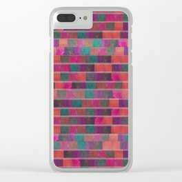 """""""Full Color Squares Pattern"""" Clear iPhone Case"""