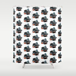 Classic 69 American Muscle Car Cartoon Shower Curtain
