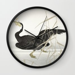 Cormorant fishing - Japanese vintage woodblock  print Wall Clock