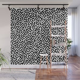Black and White Organic MAZE Pattern Wall Mural