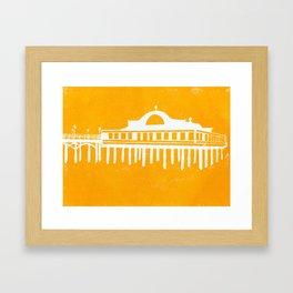 Seaside Pier in Yellow Framed Art Print