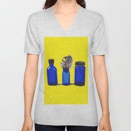 Cobalt Blue Glass Bottle Illustration Unisex V-Neck