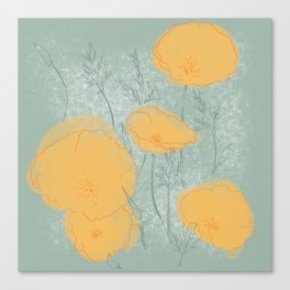 California Poppies in Gray Canvas Print