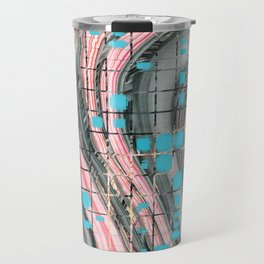 Pink and Blue Block Party Art by Sharon Cummings Travel Mug