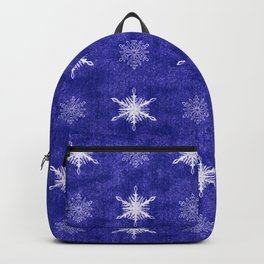 Royal Purple and White Christmas Snowflakes Backpack
