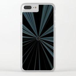 Black Velvet Silver Flower Button Design Clear iPhone Case