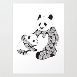 Panda Mother and Cub Art Print