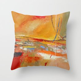 Party Lines Orange Abstract Throw Pillow