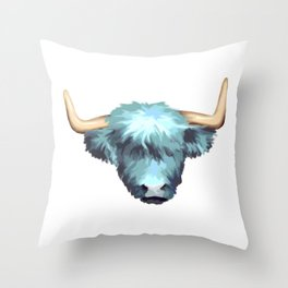 Blue Graphic Highland Cow Throw Pillow
