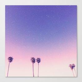 Peachy Purple Palms Canvas Print