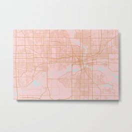 Pink and gold Des Moines map, Iowa Metal Print