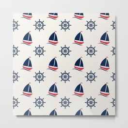 Blue Sea Ship Pattern Metal Print