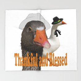 Thankful and Blessed Thanksgiving Pilgrims Throw Blanket