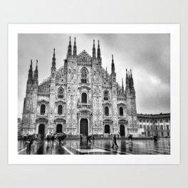 Duomo di Milano in the rain Art Print
