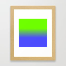 Neon Blue and Neon Green Ombré  Shade Color Fade Framed Art Print
