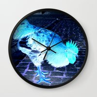 cock Wall Clocks featuring cock animal by habish