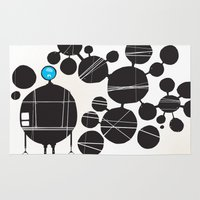 robot Area & Throw Rugs featuring robot by alex eben meyer