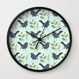 A Flurry Of Wings Spring Blackbird Pattern Wall Clock