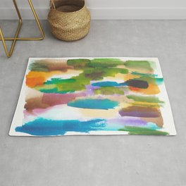 180812 Abstract Watercolour Expressionism 10 | Colorful Abstract | Modern Watercolor Art Rug