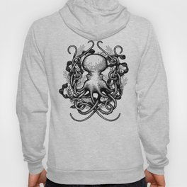 Octupus and COral (Black and White) Hoody