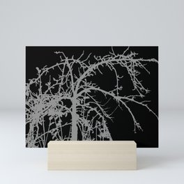 Creepy tree silhouette, grey on black Mini Art Print