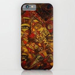 Indigenous Inca Faces and Ancestors - Renacer en el Tiempo portrait painting by Ortega Maila iPhone Case