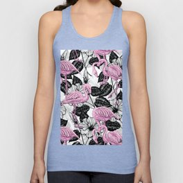 Flamingos and hibiscus flowers Unisex Tank Top