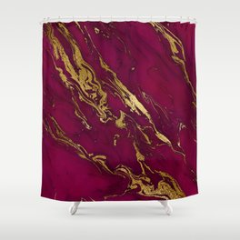 Marsala Marble and Gold Foil Shower Curtain