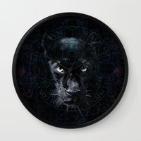 panther Wall Clocks featuring PANTHER by FLUFFY REMAINS