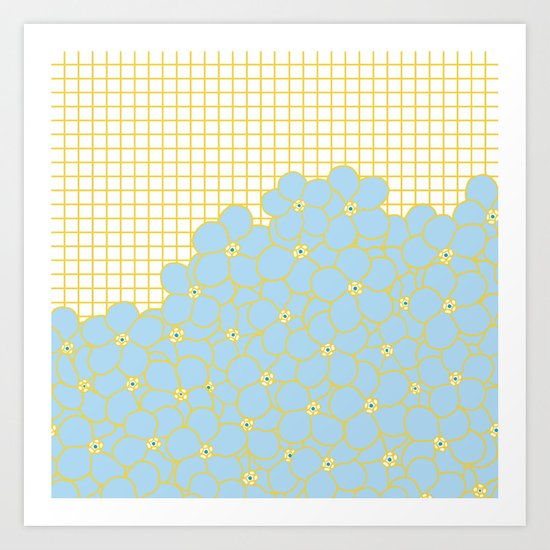 Forget Me Knot Gold Grid Art Print