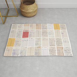 Old Friends Library Circulation Card Print Rug
