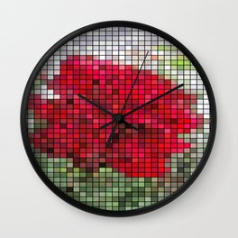 Red Rose Edges Mosaic Wall Clock