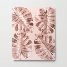 Rose Gold Monstera Leaves on Blush Pink Metal Print