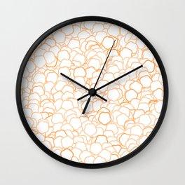 Orange Manga Flowers Wall Clock