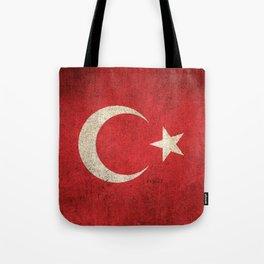 Old and Worn Distressed Vintage Flag of Turkey Tote Bag