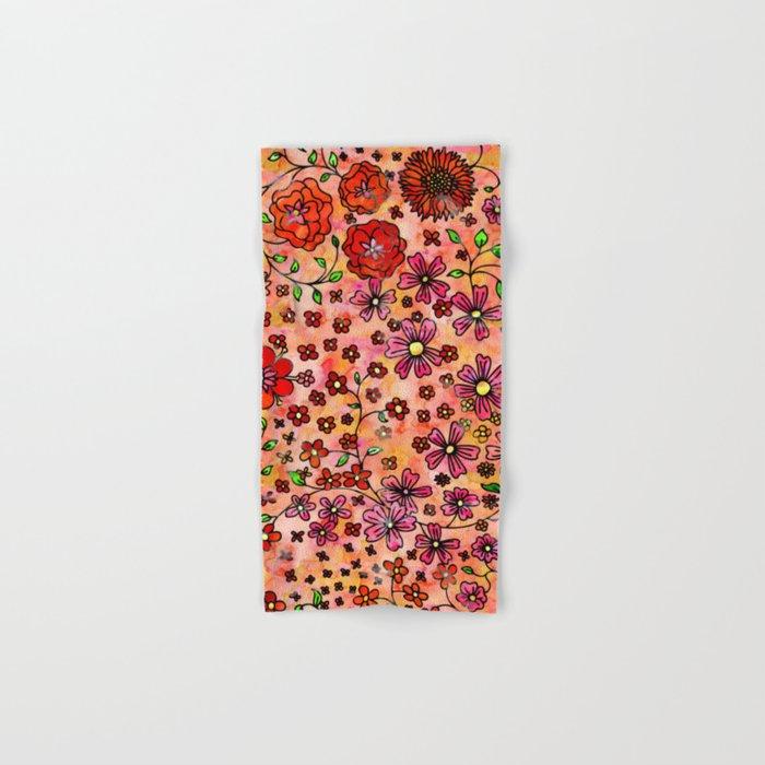 Orange Small Flowers Hand & Bath Towel