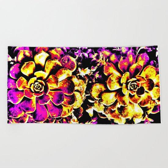 Purple Yellow Flower Plant, Pop Art Beach Towel