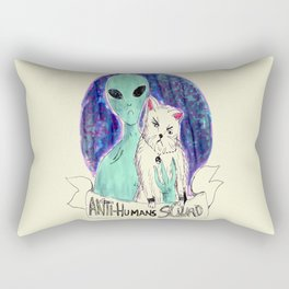 alien and cat anti-human squad Rectangular Pillow