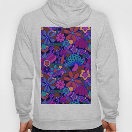 70's Psychedelic Garden in Cool Jeweltone Hoody