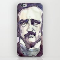 edgar allan poe iPhone & iPod Skins featuring Edgar Allan Poe by Germania Marquez