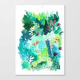 Twice Last Wednesday: Abstract Jungle Botanical Painting Canvas Print