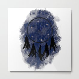 Dreamcatcher crow: Blue background Metal Print